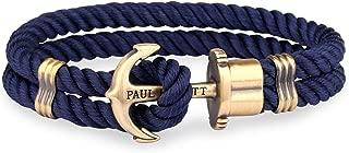 Pulsera para Hombre PHREP - Pulsera de Nylon Azul Marino con Ancla, Brazalete de Hombre con Cuerda de Vela y Ancla, Accesorio de Acero Inoxidable de Color latón