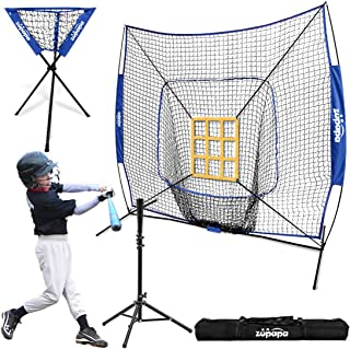 Zupapa 7x7 Feet Baseball Softball Hitting Pitching Net Tee Caddy Set with Strike Zone, Baseball Backstop Practice Net for Pitching Batting Catching for All Skill Levels