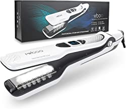 MKBOO Hair Straightener, Professional Steam Flat Iron Nano Titanium Ceramic Curling Iron with Removable Comb Digital LCD 5 Level Adjustable Temperature Hair Styling Tool for All Hair Types White