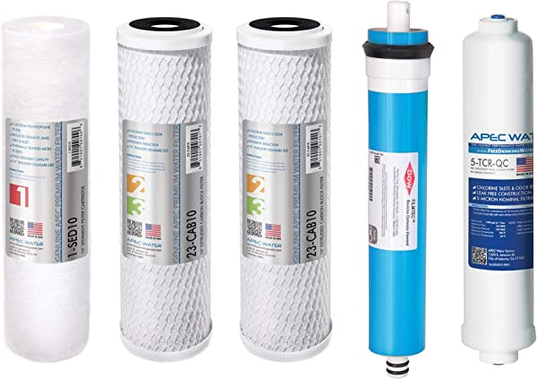 APEC FILTER MAX90 US Made 90 GPD Complete Replacement Filter Set For ULTIMATE Series Reverse Osmosis Water Filter System For Standard 1 4 Output System