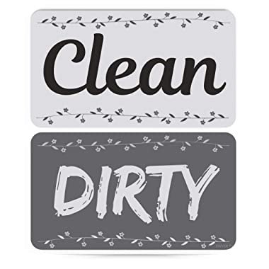 ENVIX Dishwasher Magnet Clean Dirty Sign Double Sided Magnet Flip with Magnetic Plate Kitchen Dish Washer Reversible Indicator Farmhouse White Grey
