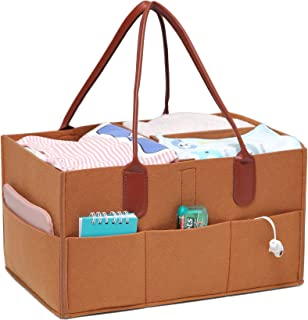 Baby Diaper Caddy Organizer - Portable Organizer and Storage for Nursery - Diaper Basket for Changing Station with Removable Dividers