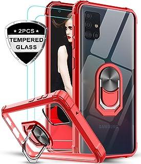 LeYi Funda Samsung Galaxy A51 5G con [2-Unidades] Cristal Vidrio Templado,Transparente Carcasa con 360 Grados iman Soporte Silicona Bumper Antigolpes Armor Case para Movil A51 5G,Clear Rojo