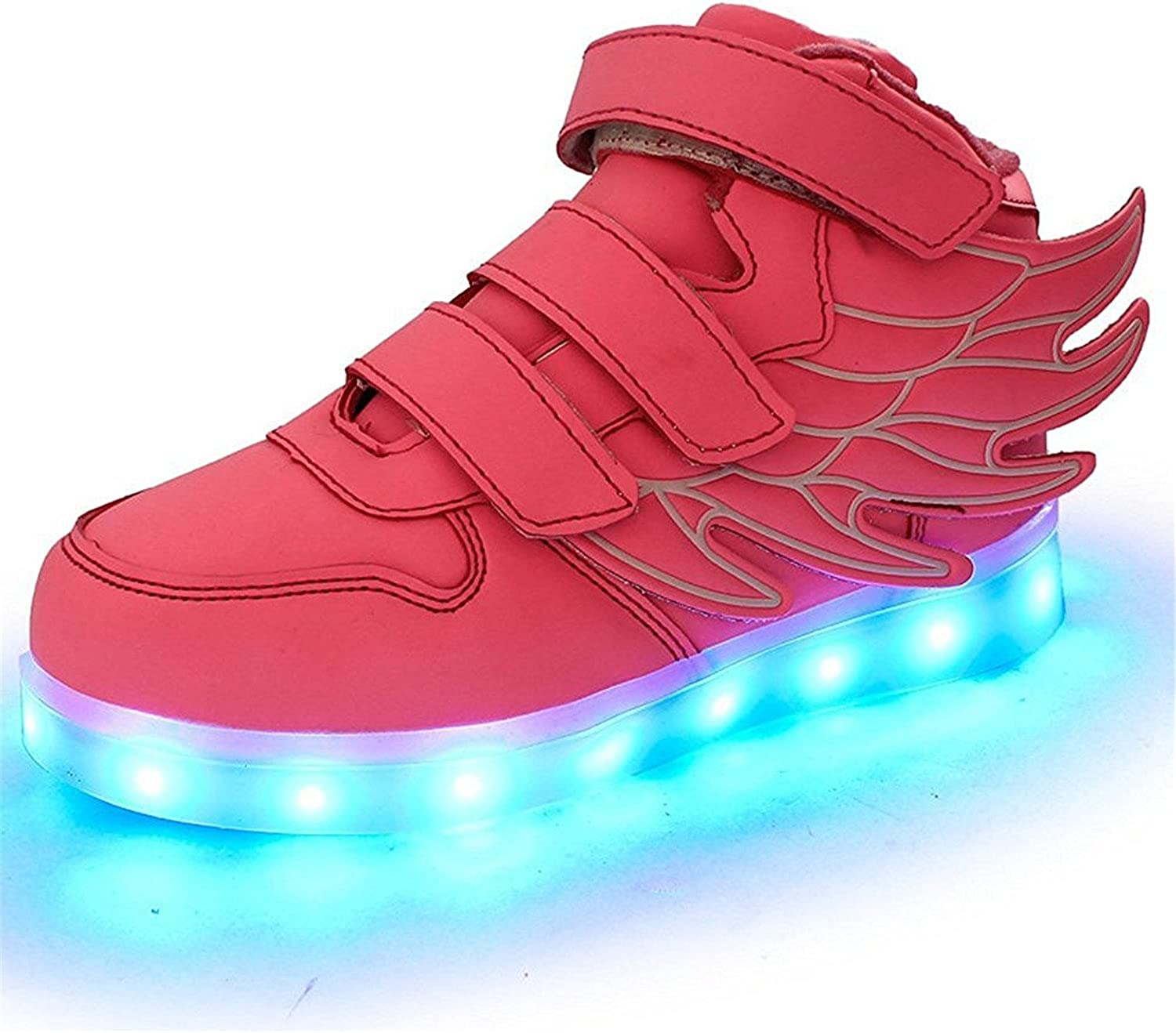 Also Easy Exquisite Boys Girls Upgraded USB Charging 7 colors LED Luminous Sneakers Breathable Light Up Flashing shoes