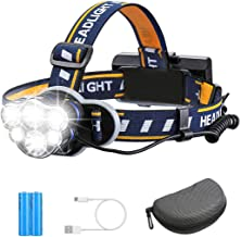 Rechargeable Headlamp TAZLER 12000 Lumens 6 LED 8 Modes USB Rechargeable HeadLight with 2 Batteries, Waterproof LED Head T...