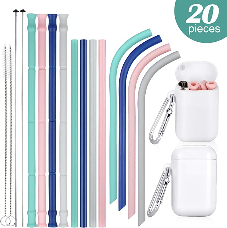 Silicone Straws Drinking Reusable 20 Pcs Portable BPA Free 20 30oz Tumblers Compatible Collapsible Straws With Cleaning Brush For Travel