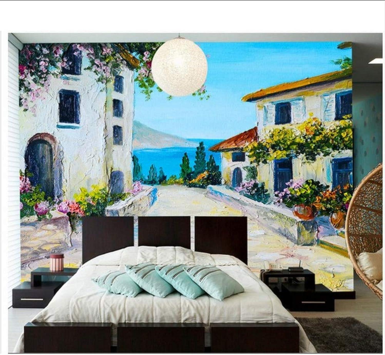 a la venta Casa de de de piedra del Mediterráneo pintada a mano en el jardín Casa de campo con papel tapiz mural Papel pintado 3D Decoración del hogar-200X140CM  más vendido