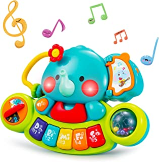 HOLA Baby Music Toys Elephant Piano Keyboard Learning Educational Toys for Infant 3 6 9 12 18 24 Months Light UP Baby Toys...