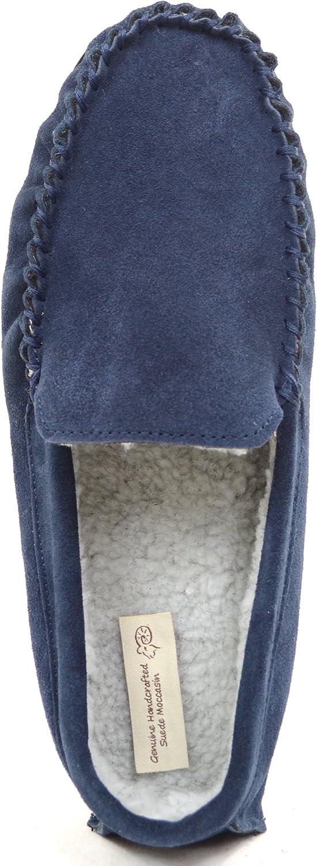 SNUGRUGS Mens Berber Fleece Lined Moccasin Slipper with Non-Slip Rubber Sole