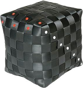 959767Pouf/Repose-Pieds, Polyester, Noir, 32.9x 28.2x 32.9cm