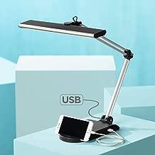 Flynn Modern Desk Lamp with USB Port and Phone Cradle Metallic Black and Silver Adjustable Swivel LED for Bedroom Bedside Office - 360 Lighting
