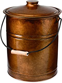 Plow & Hearth Double Bottom Metal Fireplace Ash Bucket with Lid and Handle, 10