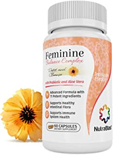 NutraBlast Feminine Balance Complex | Vaginal Detox & Cleanse | Supports Healthy Intestinal Flora & Immune System | Advanced Formula with 11 All Natural Ingredients | 60 Capsules