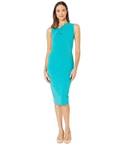 Donna Morgan Sleeveless Crepe Sheath Dress (Fresh Teal) Women