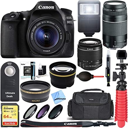 Canon EOS 80D CMOS DSLR Camera + EF-S 0.709-2.165in IS STM & 2.953-11.811in III Lens Kit + Accessory Bundle 64GB SDXC Memory + SLR Photo Bag + Wide Angle Lens + 2x Telephoto Lens + Flash + Remote + Tripod, Bundle