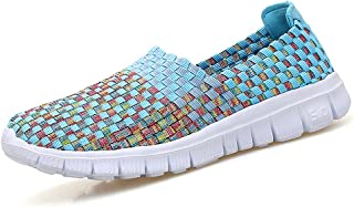 Women Multicolor Elasticized Fabric Casual Plaid Weave Flats Slip on Sneakers Walking Shoes