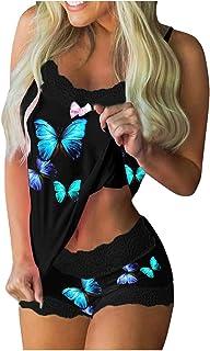 Regalo TIFIjunto Pijama Verano y Satén para Mujer con Ribete Encaje con Estampado Mariposas, Top Tipo Camisola y Pantalones Cortos