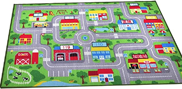 YOUSA Kids Play Rug City Life Play Carpet 39 X59