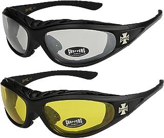 290b14a8db Choppers - Pack de 2 gafas de sol con acolchado en negro, antracita, plata