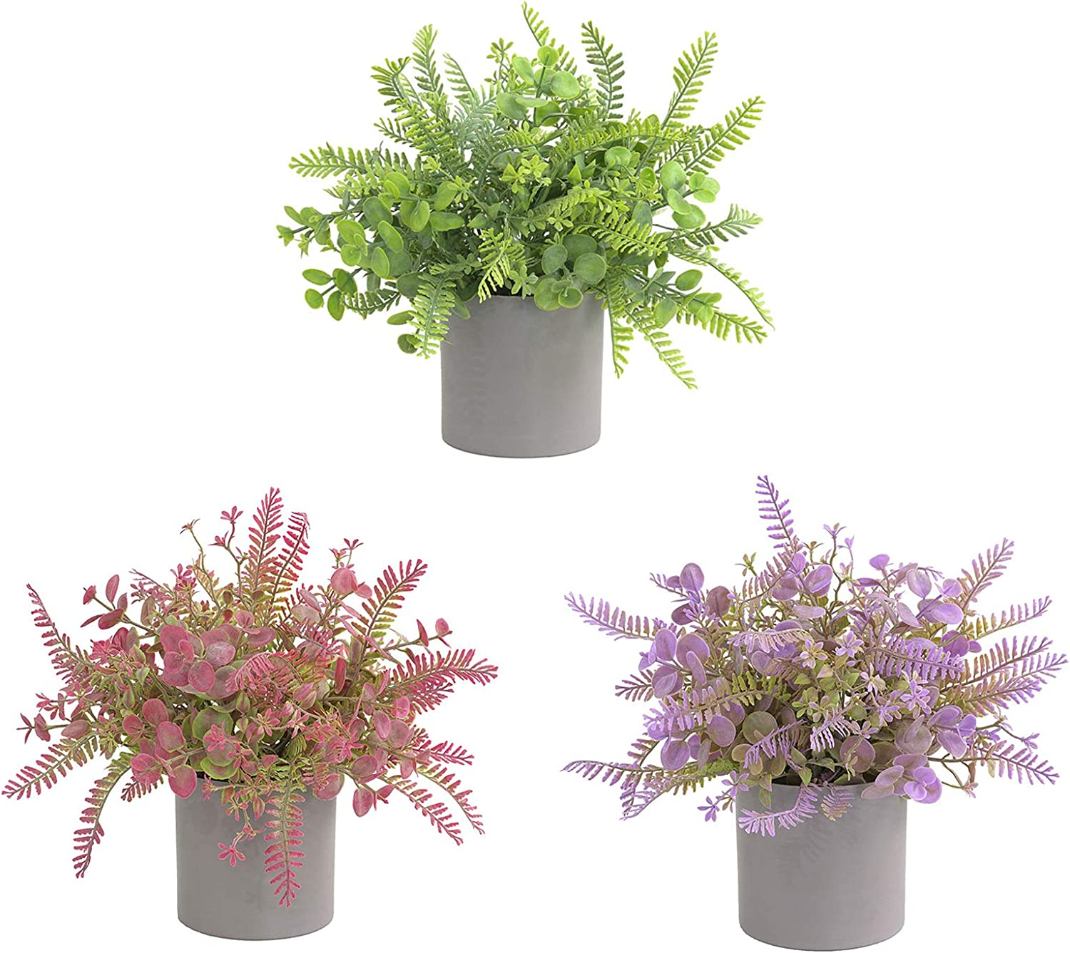 GREENSTORE 3PCS Small Potted In a popularity Artificial Over item handling ☆ Eucalypt Plants Plastic