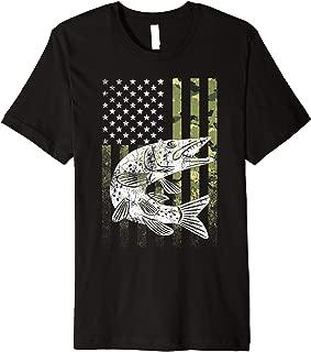 Camouflage USA Flag Patriotic Fisherman Gift Musky Fishing Premium T-Shirt