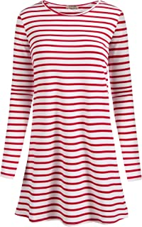 Women Long Sleeve Flare Tunic Tops for Leggings Flowy Shirt Striped Solid Casual Loose Fit S-XXL