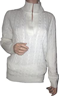 LAUREN RALPH LAUREN Women Cable Knit Shawl Sweater Cashmere Blend Ivory (X-Large)