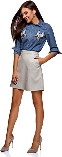 oodji Ultra Mujer Camisa Vaquera con Parches, Azul, ES 36 ...
