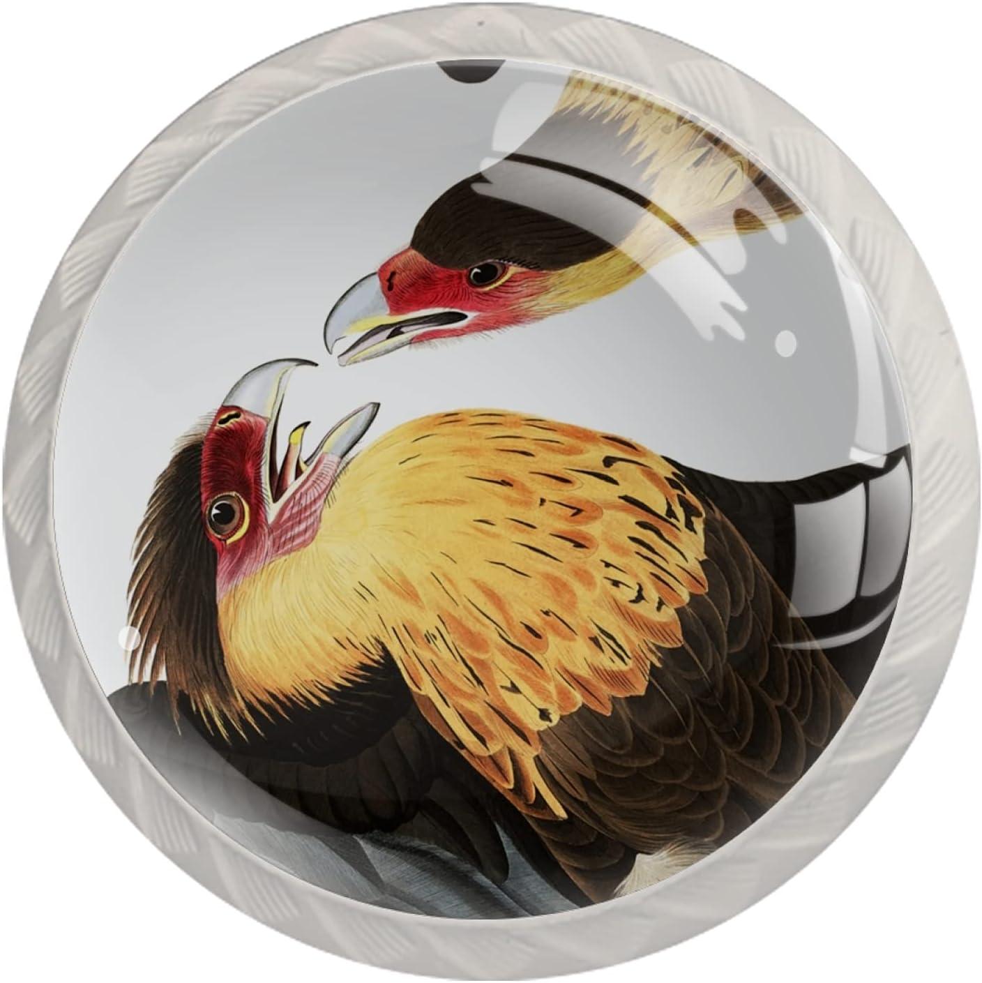 Round Cabinet Hardware Knob 4 Pack Birds 100