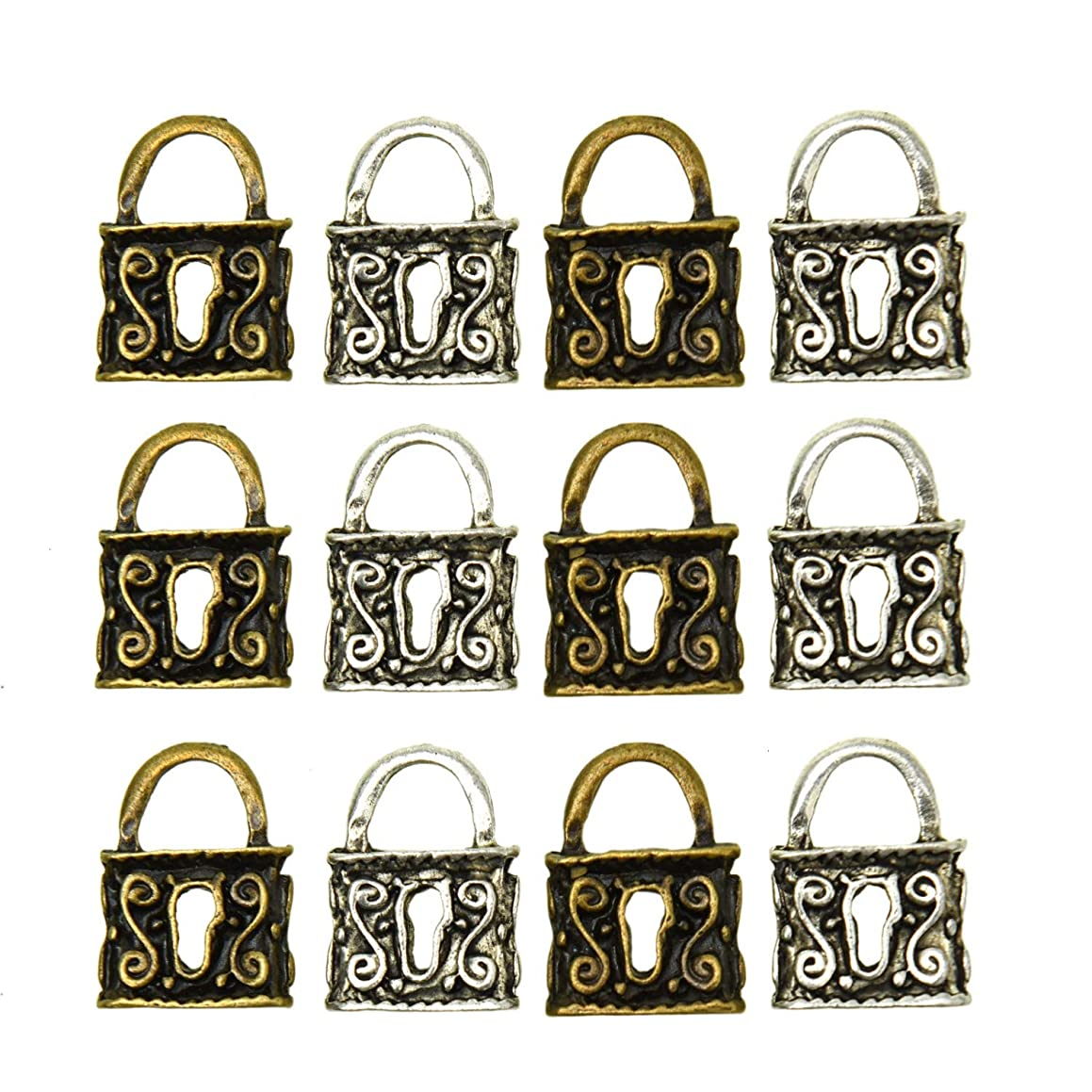 Monrocco 20 Pieces Lock Charms Pendants Lock Charms Bulk Jewelry Making Charms Lock Retro Supply for Crafting