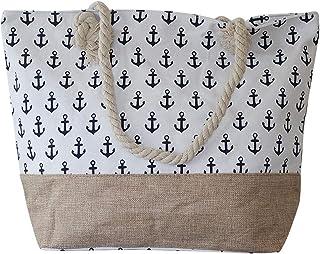 608c768ef5 Chapeau-tendance - Grand sac de plage blanc encre marine - - Femme