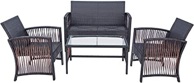 Merax Outdoor Rattan Furniture Set, 4 Pieces Chair & Table Patio Sofa with Cushions for Garden, Backyard, Porch and Poolside (Brown)