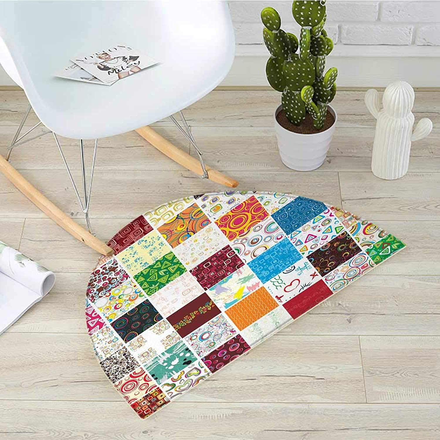Retro Semicircular CushionBig Patchwork of Different Patterns Traditional Classical Old Fashioned and Festive Entry Door Mat H 39.3  xD 59  Multicolor