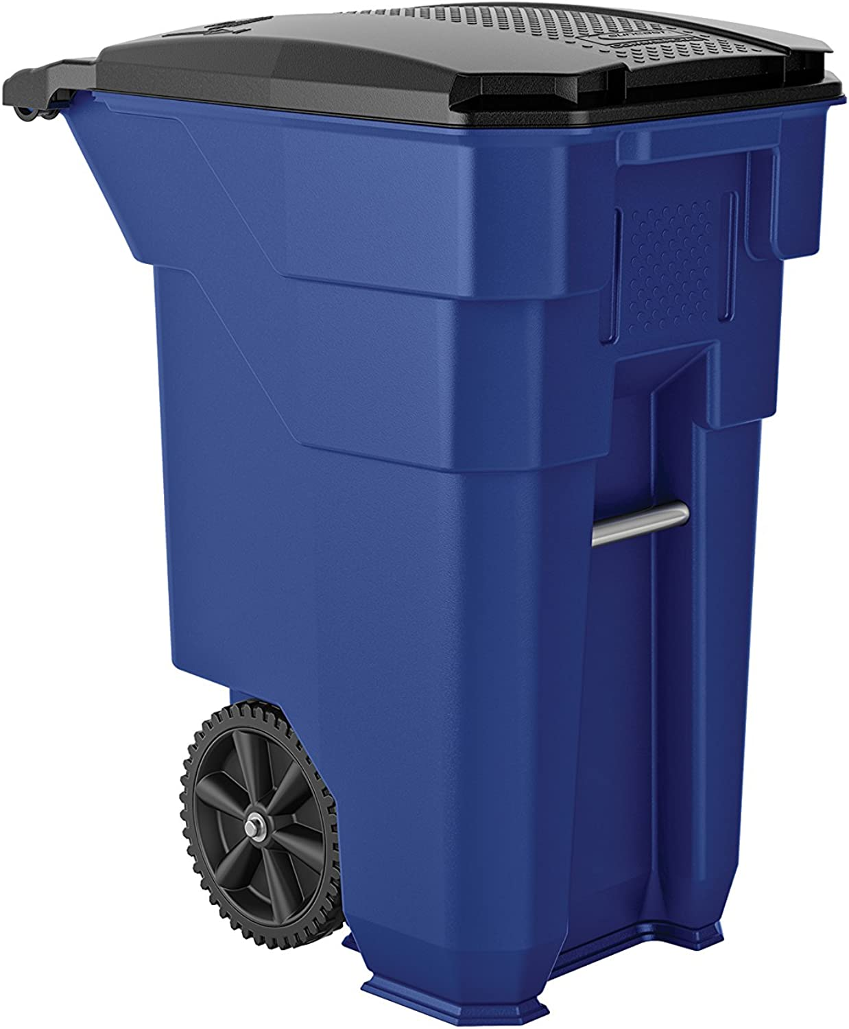 Suncast Commercial BMTCW50BL Wheeled Trash Can, 38.5  Height, 23.5  Width, 50 gal Capacity, Plastic, bluee