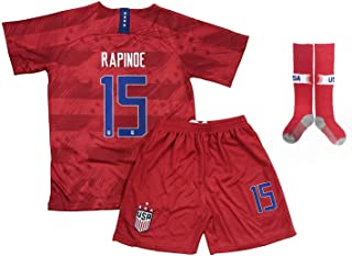 Cogi 2019/2020 USA Away #15 Megan Rapinoe Kids/Youths Soccer Jersey & Shorts & Sock