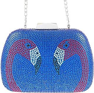 Redland Art Women's Fashion Sparkly Crystal Flamingo Mini Clutch Bag Wristlet Evening Handbag Catching Purse Bag for Wedding Party (Color : Blue)