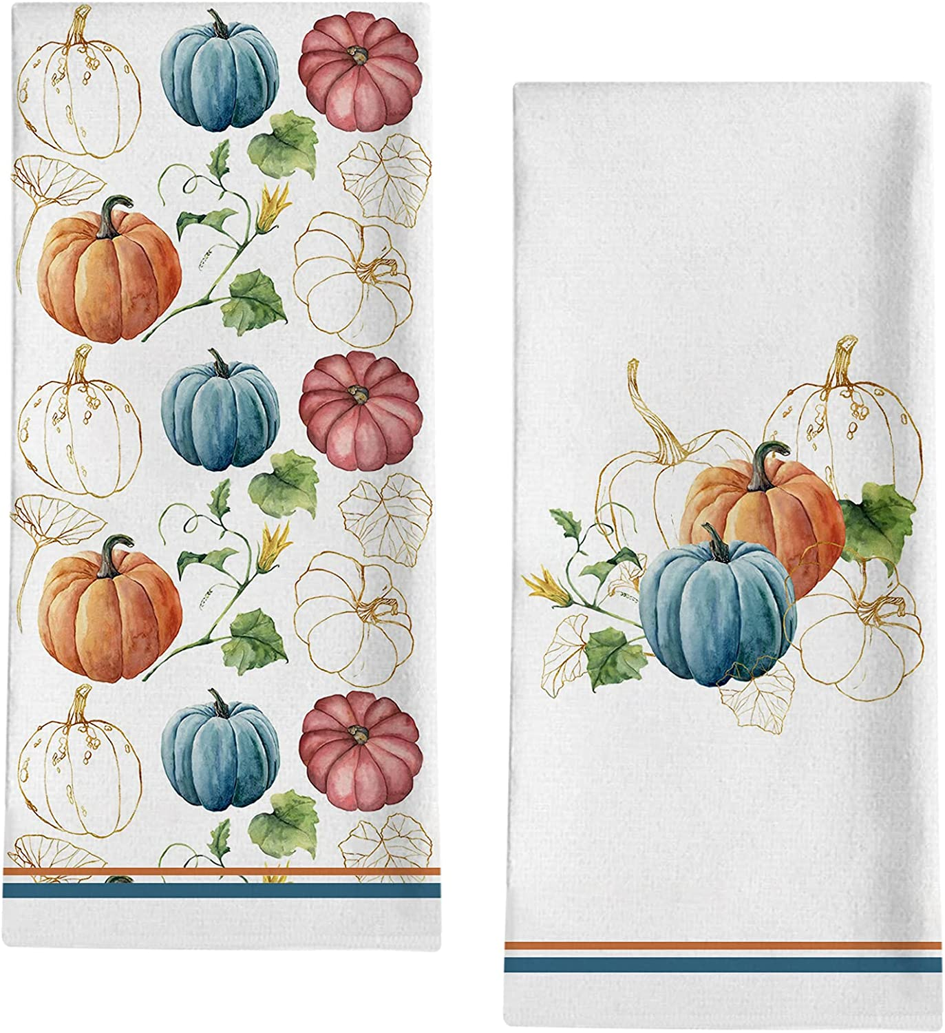 Seliem Fall Watercolor Blue Pumpkin Patch Kitchen Decorative Max 49% OFF New mail order Dis