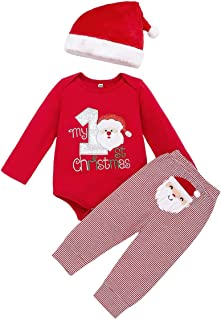 Baby Boys Girls My 1st Christmas Santa Claus Rompers Bodysuit Pants with Hat 3 Pcs Outfits
