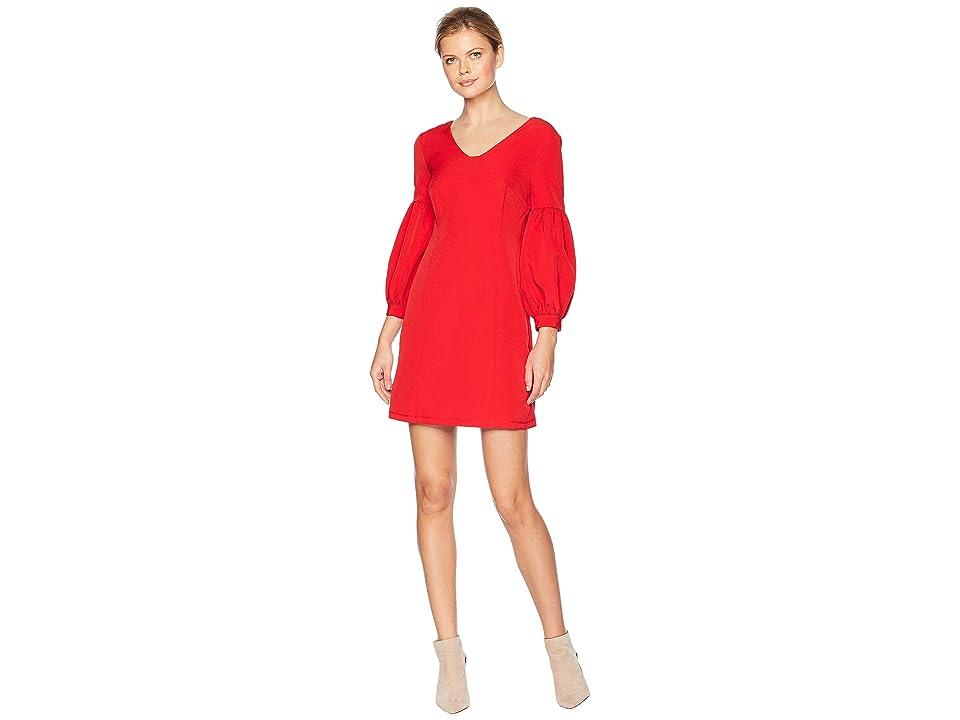 Laundry by Shelli Segal Scuba Puff Sleeve Dress (Red) Women