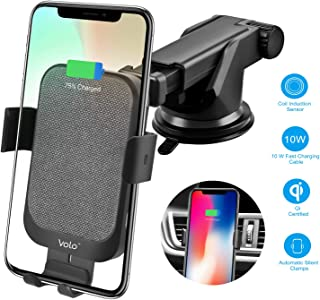 Wireless Car Charger Mount 15W Qi Fast Charging Automatic Clamping Compatible with iPhone: XS/Max/XS/XR/8/8 Plus/11/11 Pro, Samsung: S10/Note 9/S9, Note 8/S8/S7/S7 Edge & More (Black)