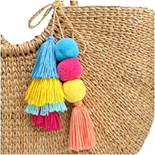 Colorful Boho Pom Pom Tassel Bag Charm key rings Attractive Handmade Personalized Straw Bag Bamboo Bag Key chain