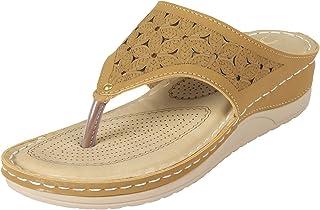 XE Looks Doctor Sole Comfortable Slippers for Women (1.5 inch Heel) (Beige)
