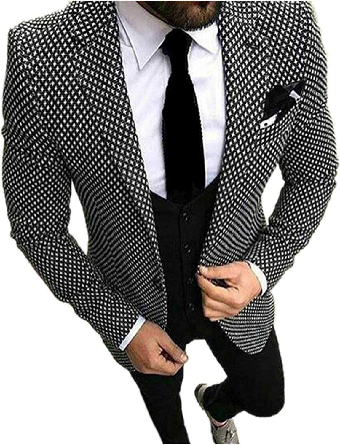 JYDress Men's Casual 3 Pieces Business Suits Terno Slim Fit Black and White Plaid Tuxedos Wedding Suits