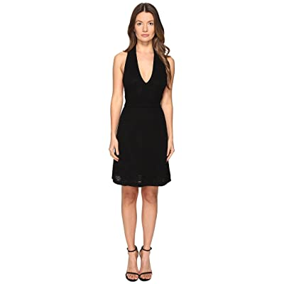 M Missoni Solid Rib Stitch V Dress (Black) Women