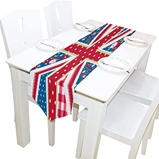 Yochoice Table Runner Home Decor, Stylish Cute Union Jack Flag with Shabby Chic Floral Table Cloth Runner Coffee Mat for Wedding Party Banquet Decoration 13 x 70 inches