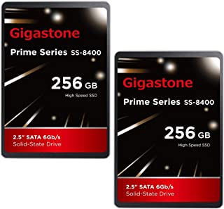 "Gigastone 256GB 内蔵 2.5インチ SSD 2枚セット 3D NAND搭載 SATA III 6Gb/s 2.5 inch 7mm (0.28"") 最大読み込み速度 550MB/s 3年保証"