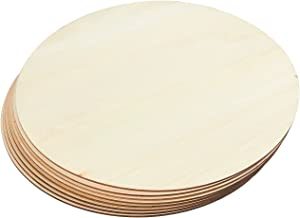 Juvale Wooden Cutouts for Crafts, Wood Circles, 0.1 inch Thick (12 in, 8 Pack)