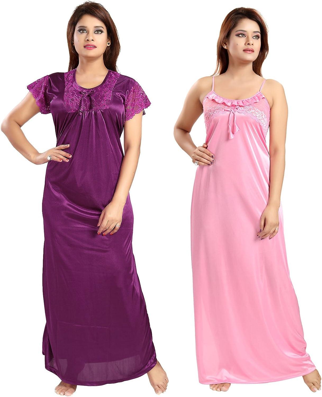 Be You Satin purplePink Women Nighty Combo Pack of 2