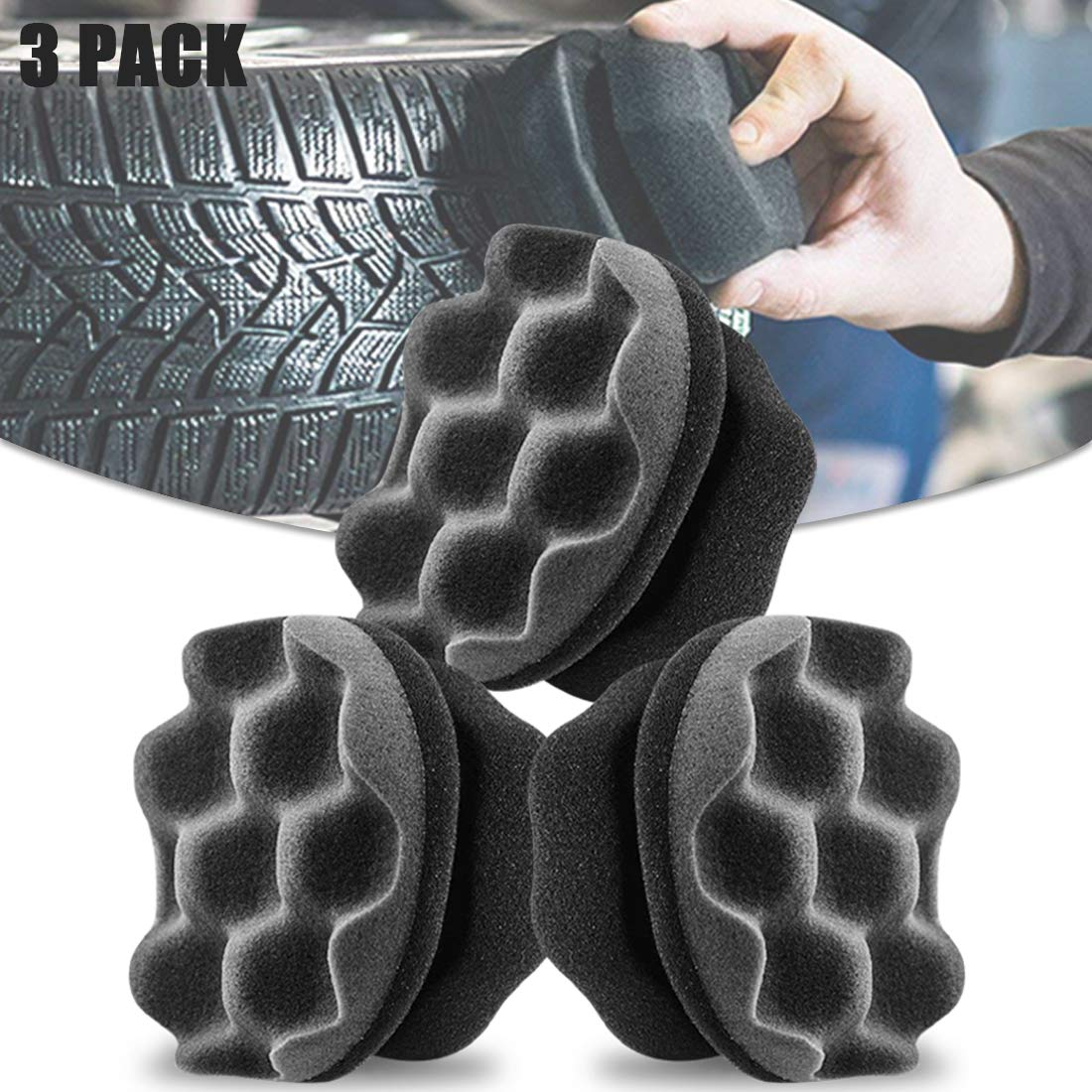 2Buyshop 3 Pack Tire Shine Applicator Ergonomic Design Tire Brush Tire Dressing Applicator Pad Durable, Keeps Tires Shine, Reusable and Washable, Perfect for Tire Detailing (Big Size)