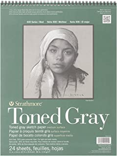 """Strathmore Gray Drawing 400 Series Toned Sketch Pad, 11""""x14"""", 24 Sheets"""